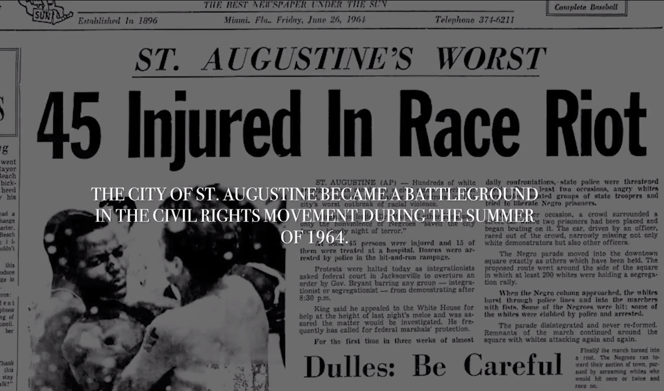 Headlines in Miami about race riots with swim pool connections