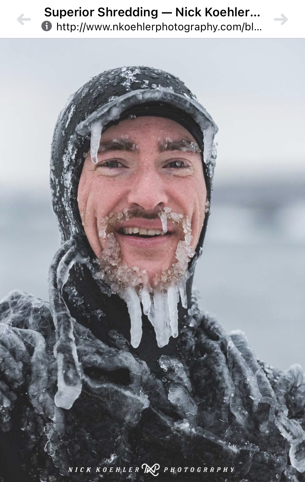 Face in ice and smiles