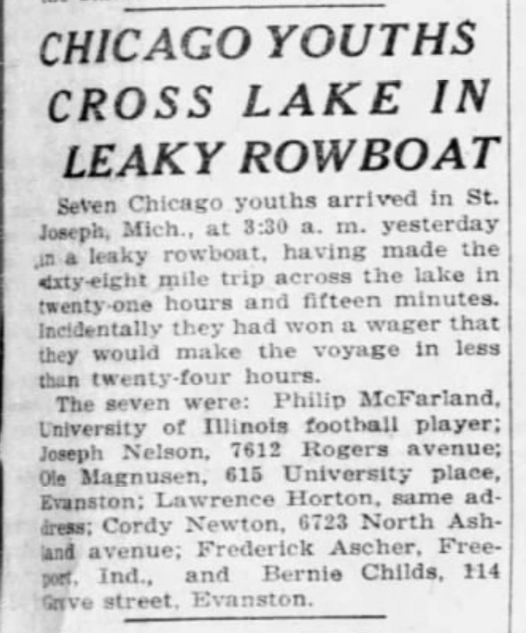 Cross Lake Michigan in leaky boat, news clip